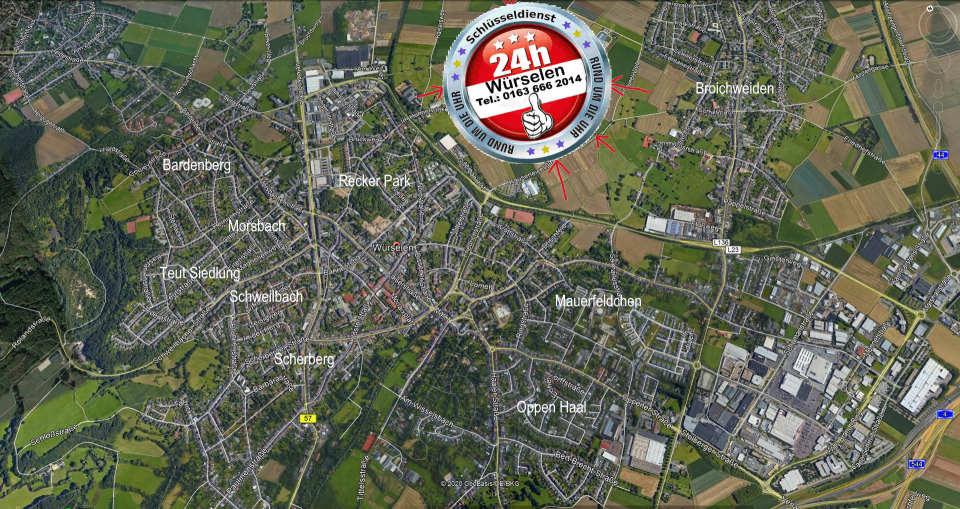 Karte des Einzugs Gebietes Notdienst Tag und Nacht überall zum Festpreis